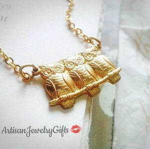 Handmade - ArtisanJewelryGifts Jewelry - Tiny Gold Owl Trio Necklace
